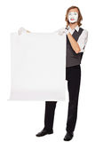 Mime actor shows a white sheet Royalty Free Stock Photography