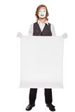 Mime actor shows a white sheet Stock Image