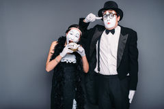 Free Mime Actors Performing, Actress Nibble Alarm Clock Stock Photos - 90632633