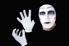 Mime aislado en fondo negro Fotos de archivo libres de regalías