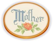 Mime al bordado, Rose Cross Stitch, aro de madera retro Fotografía de archivo libre de regalías