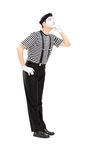 Mime artist listening something Royalty Free Stock Photography