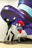 Mime Artists Giant Hand Illusion Colour Royalty Free Stock Photography