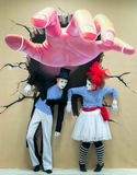 Mime Artists Giant Hand Illusion Colour Royalty Free Stock Photos