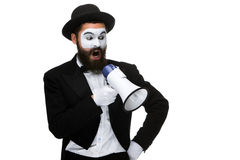 Mime as business man with a megaphone Stock Photo