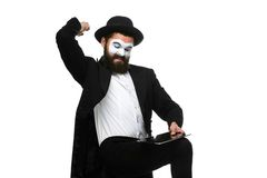 Mime as businessman has stress because of computer Royalty Free Stock Photos