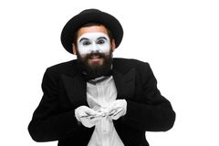 Mime as businessman holding money Royalty Free Stock Photography