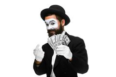 Mime as a businessman luring money Royalty Free Stock Photography