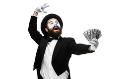 Mime as a businessman screaming with delight Stock Image
