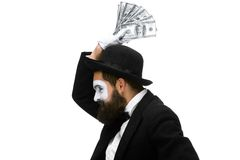 Mime as a businessman screaming with delight Stock Photography