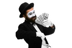 Mime as a businessman screaming with delight Royalty Free Stock Images