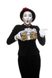 Mime as playful, joyful and excited woman with Stock Images