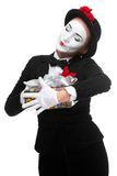 Mime as playful, joyful and excited woman with Royalty Free Stock Photography