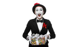 Mime as playful, joyful and excited woman with Stock Photos
