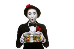 Mime as playful, joyful and excited woman with Stock Photo