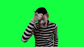The mime boy laughs hysterically stock video footage