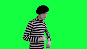 The mime boy suspects something stock video footage