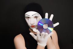 Mime with cd Stock Photo