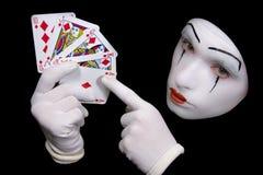 Mime com cartões de jogo Fotos de Stock Royalty Free