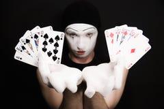 Mime com resplendor real em um fundo preto Fotografia de Stock Royalty Free