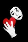Mime con cuore rosso immagine stock