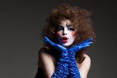 Mime da mulher com composição teatral Fotografia de Stock Royalty Free