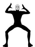 Mime del ejecutante con enojado de la máscara descontentado imagen de archivo libre de regalías