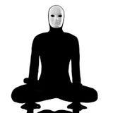 Mime del ejecutante con la máscara que estira flexibilidad Imágenes de archivo libres de regalías