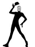 Mime del ejecutante con saludar feliz de la máscara foto de archivo