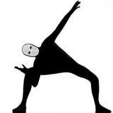 Mime dell'esecutore con la mascherina che allunga flessibilità fotografia stock