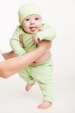 Mime a detener al pequeño muchacho del niño del bebé que hace el primer paso fotografía de archivo