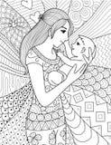 Mime a detener a su bebé, línea limpia diseño del arte del garabato Fotografía de archivo