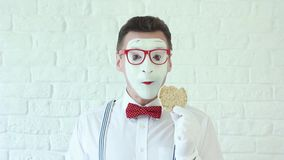 Man eating a healthy breakfast in the morning. mime stock video footage