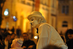 Mime face. Sibiu city - center avenue - in middle Romania, Transylvania land is now host of International Festival of Theater May 25th - June 3rd 2012 Royalty Free Stock Photography