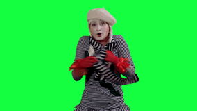 The mime feels cold and trying to keep warm stock footage