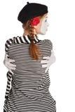 Mime girl hugging herself Stock Photos