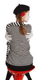 Mime girl hugging herself Royalty Free Stock Photos