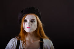 Mime Girl Pout. A redhead mime girl pouting displeasedly Stock Photos