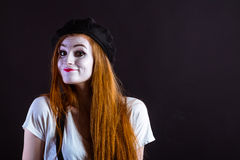 Mime Girl Smile Stock Images