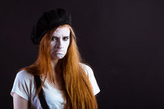 Mime Girl Unhappy Stock Image