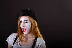 Mime Girl Wink Stock Images