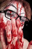 Mime in glasses with blood Stock Photography