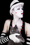 Mime with a gray British cat Royalty Free Stock Image