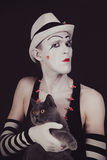 Mime with a gray British cat Royalty Free Stock Photo