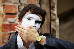Mime guy reads his book Stock Photography