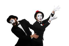 Mime holding another one up and running Royalty Free Stock Images