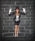 Mime imagining a wall Stock Image