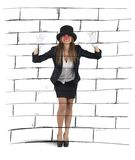 Mime imagining a wall Royalty Free Stock Images