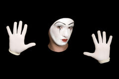 Mime isolated on a black background Stock Photos