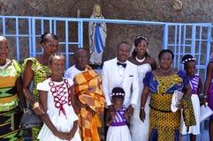 Mime a la celebración del día del ` s con los feligreses de la iglesia Fotografía de archivo